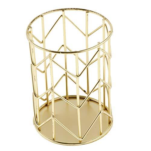 Gazechimp Soporte de Lápiz de Diseño Geométrico Organizador de Bolígrafo de Alambre de Metal Funcional para Organizador de Pinceles de Maquillaje, 4.21x3.15 - Dorado, Individual