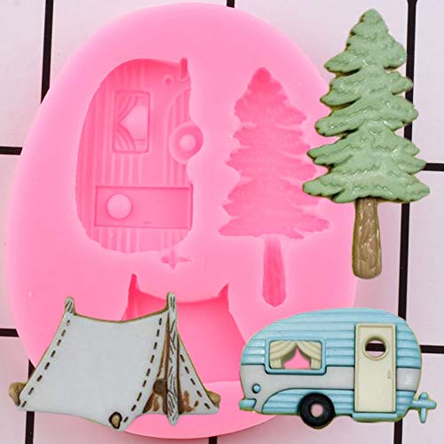 HUIZHANG Camping Trailer Tent Silicone Molds Cake Decorating Tools Tree Car Cupcake Candy Polymer Clay Chocolate Moulds