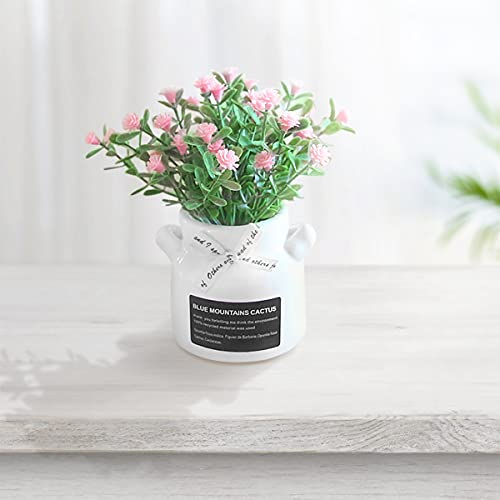 DMFSHl Flor Artificial, Ramo De Hortensias De Seda, con 1 Maceta De Cerámica, Arreglos Florales Realistas De Plástico, Decoración De Boda, Centros De Mesa, Jardín, Decoración del Hogar
