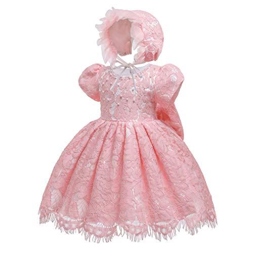 Gaga city Baby Spitzen Kleid Taufkleider Prinzessin Bowknot BlumenMädchenkleid Taufkleid Kleid Hochzeit Festzug Geburtstag Partykleid mit Mütze Rosa/6M/66CM