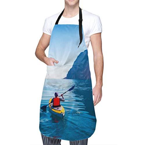 Unisex Schürze, wasserdicht langlebig verstellbare Kajaks Paar Kanoeing Meer in der Nähe der Insel Kochschürzen Damen Schürze für Geschirrspülen BBQ Grill Restaurant Garden