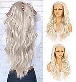VEBONNY 613 Encaje frente peluca suelta ondulado platino rubio pelucas sintéticas pelo largo rizado peluca con parte media 22 pulgadas VEBONNY-040-NUEVO