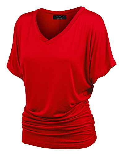 MBJ WT1037 V Neck Short Sleeve Dolman Top with Side Shirring XL RED