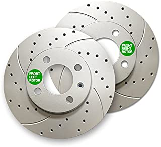 Front Premium Geomet rust protected Drilled and Slotted Brake Rotors 31179DS | Fits: Sebring Stratus Eclipse Galant Avenger Talon Laser