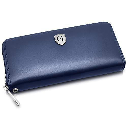 Mailand Damen Geldbörse - Großes Frauen Portemonnaie mit RFID Schutz - XL Geldbörse mit vielen Fächern - Geschenk für Damen - erhältlich in 5 Farben (Marineblau - Glatt)