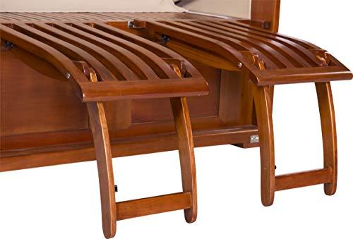 foolonli Strandkorb 2,5 Sitzer aufgebaut grün weiß gestreift mit Bullauge Mahagoni Holz XXL - 5