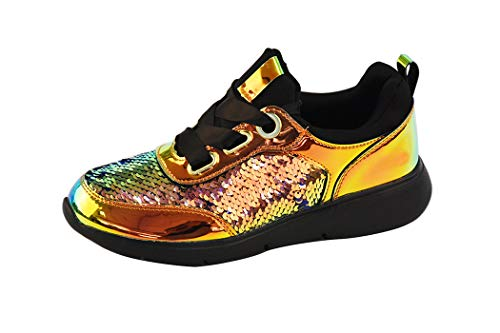LUCKY-STEP Women Casual Sequin Sneakers Metallic PU Bright Sparkle Holographic Lace Up Walking Shoes (Green Hologram,8 B(M) US)