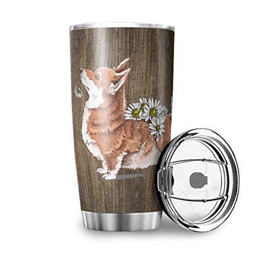 Toomjie 18/8 Roestvrij stalen waterfles Dual-Wall Stofzuiger Stain Resistant Travel Car Cup met Sluitend Deksel 20 oz (Ik ben uw vriend partner hond Bloem)