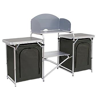 CampFeuer Meuble de Camping Aluminium Cuisine, 171 x 111 x 48 cm, Armoire Pliable avec Protection Anti-éclaboussures, de Nombreuses étagères et Compartiments de Rangement