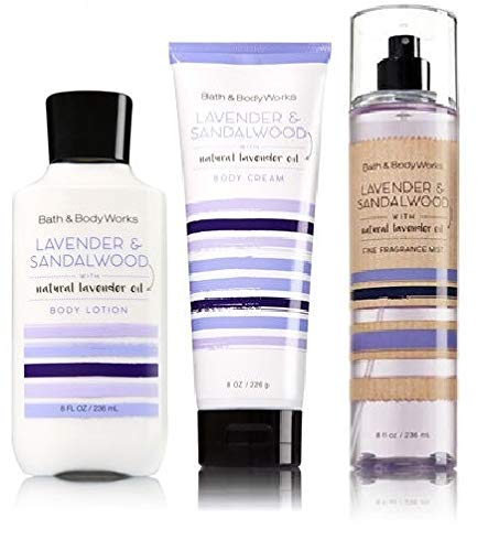 Bath and Body Works LAVENDER & SANDALWOOD Trio Gift Set - Body Lotion - Fragrance Mist and Body Cream - Full Size