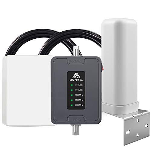 ANYCALL Amplificador Cobertura Movil 2G/3G/4G Repetidor de Señal Movil 800/900/1800/2100/2600MHz Mejorar la Red y Llamar para Coche/Carro/RV/SUV Vehículos - Admite Múltiples Usuarios