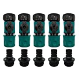 """Plastic Garden Hose Quick Connect with Shutoff Valve Set Male and Female, 3/4"""" Quick Connectors with Valve for Water Hose Coupling, Quick Release Kit Hose Fittings and Adapters (5 Sets/ 10 Pc)"""