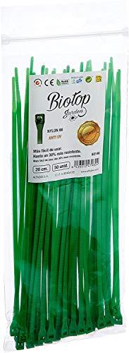 Biotop Bridas o ataduras para jardín, 50 Unidades, 20 cm x 3 mm, Color Verde, 20 cm, B2146