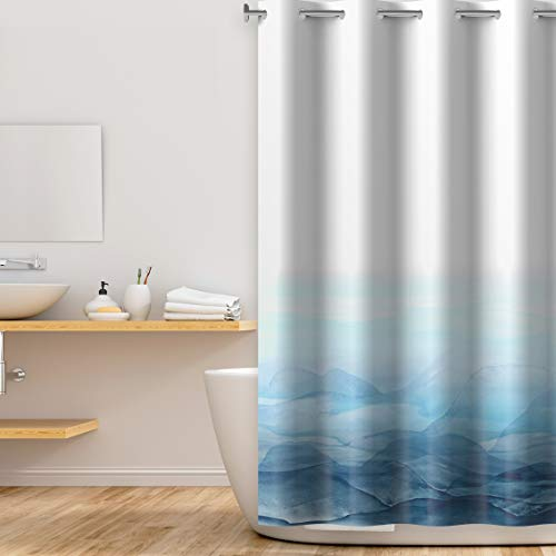 Lagute Snaphook Oriental Hook Free Shower Curtain Liner Set, Landscape Painting   74 in (L) x 71 in (W)   Removable PEVA Snap-in Liner Attached   Machine Washable   No Hook Needed