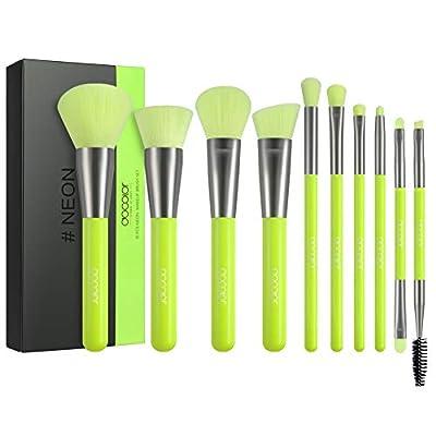 Docolor Makeup Brushes 10 Piece Neon Green Makeup Brush Set Premium Synthetic Kabuki Foundation Blending Face Powder Mineral Eyeshadow Make Up Brushes Set
