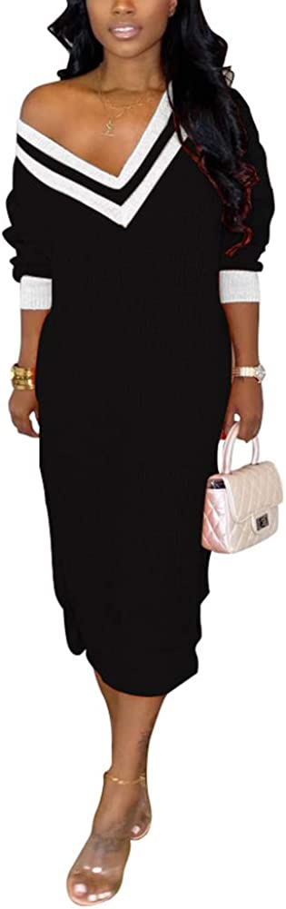 Women Sexy Deep V Neck Stripe Printed Long Sleeve Knitting Side Slit Maxi Sweater Dress Clubwear