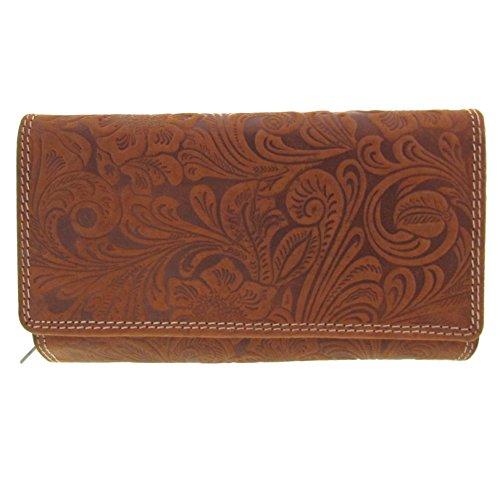 Damen Portemonnaie mit vielen Kartenfächern Lilianen Muster Wildleder