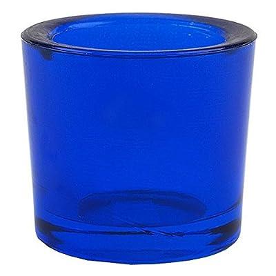 Bluecorn Beeswax Heavy Glass Votive and Tea Light Candle Holders (1, Dark Blue)