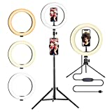 10.2' LED Ring Light with Adjustable Tripod Stand and Phone holder - Dimmable Light Ring for Video Recording, Selfie Photo, TikTok, YouTube, Makeup, Live Stream, Photography