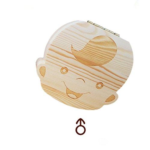 CJDDPO Zahn Aufbewahrungsbox Massivholz Box Baby (Junge, Mädchen) Haarkasten Nabelschnur Aufbewahrungsbox Zähne Holz Geschenkbox Laubkasten Gedenkzahn Haus (Englische Schriftzeichen),Boy