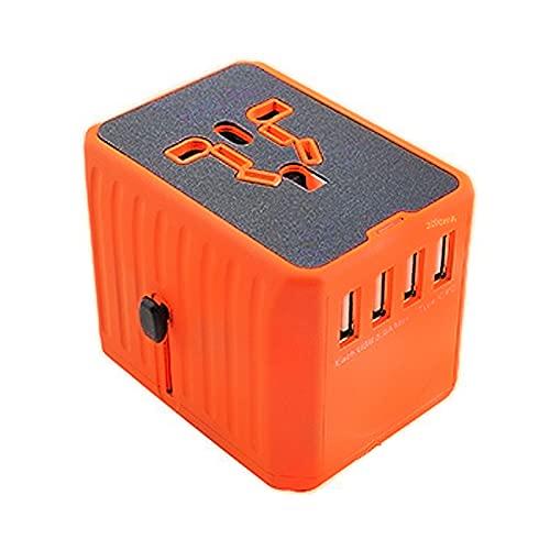 Adaptador Enchufe De Viaje, Universal Enchufe Adaptador con Dos Puertos USB Viaje Universal Adaptador,para Acerca de 150 Países y Seguridad de Fusibles (Naranja,4USB)