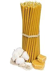 Velas de cera de abeja (25 unidades, 18,5 cm de largo, 6,1 mm de diámetro, duración de combustión: 60 min), natural, sin goteo, sin humo, calidad de iglesia, cera fina de abeja №80