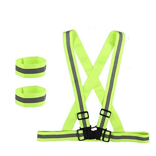 LIHAO Chalecos Reflectantes Tirantes Ajustable con 2 Brazaletes Reflectantes Elástico para Correr de Noche, Pasear a Perros, en Bicicleta, Moto, Seguridad al Aire Libre - Adultos y Niños