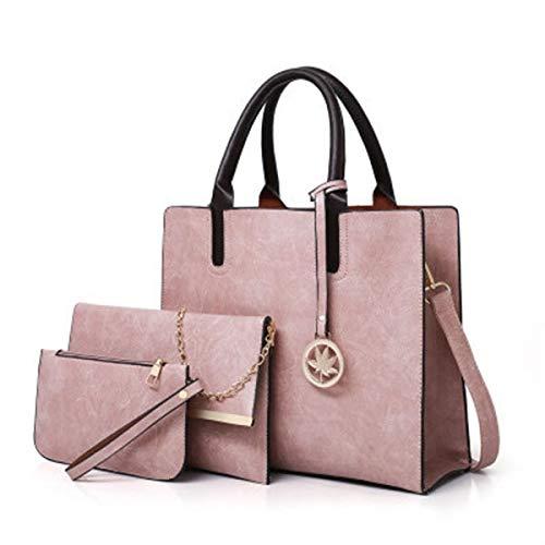 Mdsfe 3 Stück/Set Umhängetaschen mit großer Kapazität für Frauen Vintage PU-Ledertasche für Damen Mode Umhängetasche Damenhandtasche + kleine Geldbörse - Pink Composite-Tasche, 32 x 13 x 28 cm