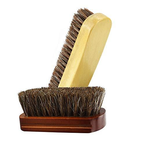 EMAGEREN Schuhbürste 2 Stück Set Rosshaarbürste Glanzbürste Schuhputzbürsten Schuhbürste Wanderschuhe Schuhbürsten Polierbürste mit Naturborsten für die Reinigung oder Politur optimale Schuhpflege