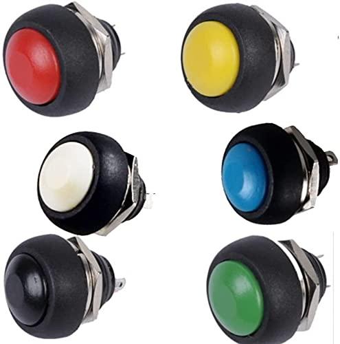 LODCC Interruptor Redondo de botón pulsador de Encendido/Apagado momentáneo Impermeable de 6 Piezas Mini 12 mm Sencillo