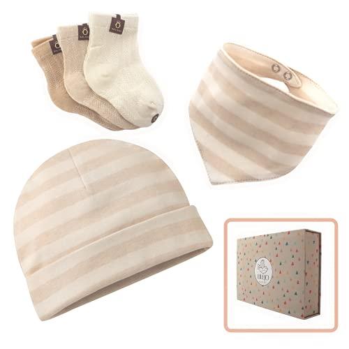 Geschenkset zur Geburt - Mütze, Halstuch und Socken für neugeborenes Baby - für Mädchen und Jungen - Geschenk für Eltern und in der Schwangerschaft - Bio-Baumwolle, 5-teilig