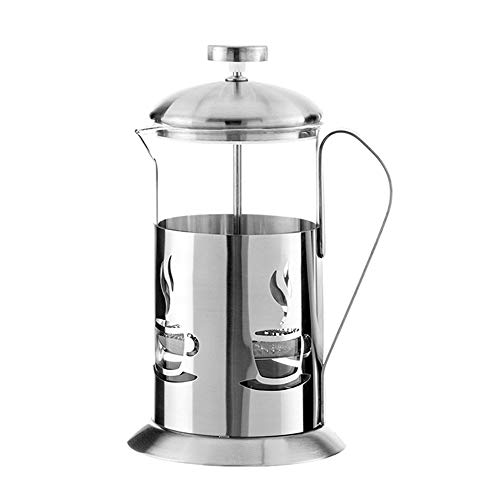 Vobajf Caffettiere a pistone Vetro French Press Pot in Acciaio Inossidabile Stampa Francese caffettiera Filtro Cup Mano Punch cafetieres (Colore : Stainless Steel, Size : 600ml)