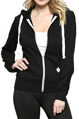 Womens Active Long Sleeve Fleece Zip Up Hoodie (Medium, B1 Solid_Black)