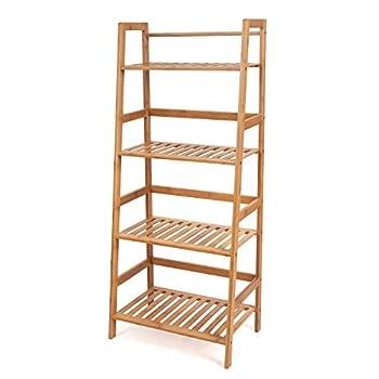 HOMFA Bamboo 4 Shelf Bookcase Multifunctional Ladder-Shaped Plant Flower Stand Rack Book Rack Storage Shelves Natural Color