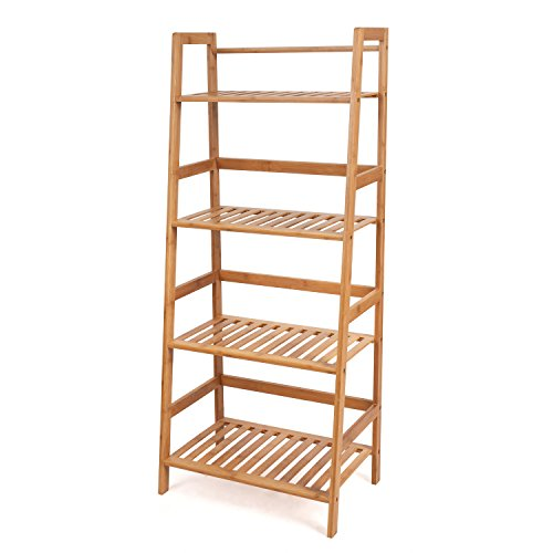 HOMFA Bamboo 4 Shelf Bookcase, Multifunctional Ladder-Shaped Plant Flower Stand Rack Book Rack Storage Shelves, Natural Color