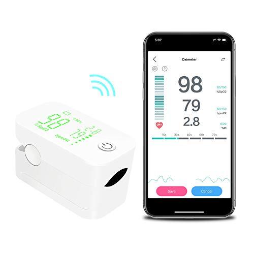 JUMPER Wireless Pulsossimetro con Ampio Display per la Misurazione di SpO2, Indice di Perfusione e Frequenza del Polso sul Dito, con Custodia, Batterie e Cordino (Bianco)