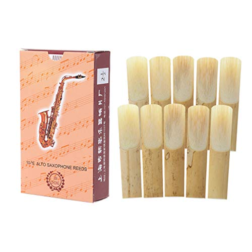 JIUYECAO Caña para saxofón, 10 piezas Eb alto saxofón cañas de bambú fuerza 2.5 saxo madera viento instrumentos partes