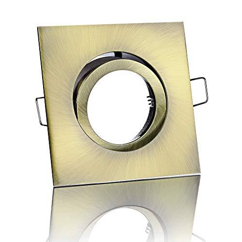 Feinlux Einbaustrahler Deckenstrahler Einbauspot Einbauleuchte Deckenlampe Einbaulampe altmessing eckig inkl. GU10 Fassung Ideal für LEDs
