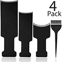 4 Pieces Balayage Highlighting Board and Brush Kit, 3 Pieces Flat Top Comb Board Balayage Paddle and 1 Piece Hair Coloring Brush for Hair Dye and Salon Uses