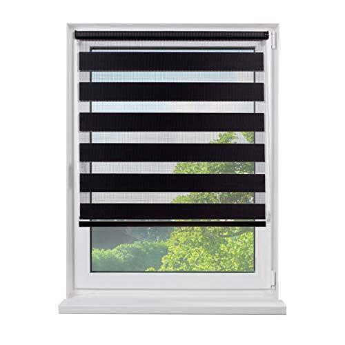 Fensterdecor Mini Doppel-Rollo, Klemmfix Duo-Rollo mit Seitenzug, Zebra-Rollo zum Klemmen in Schwarz, für idealen Sichtschutz, ohne Bohren, Blickdicht und lichtdurchlässig, 80 x 180 cm