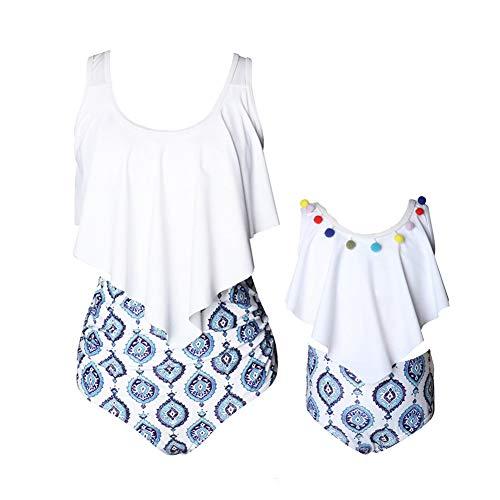 Kokowaii Ausgefallener Badeanzug für Mutter und Tochter, passender Familienbadeanzug, Schwimmbekleidung -  Weiß -  L