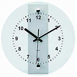 Tempus TC6065S Wall Clock with Glass Metal Frame and Quartz Movement, 10-1/2, Silver