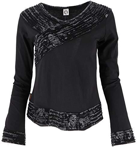 GURU SHOP Langarmshirt -chic, Mantra Shirt, Damen, Schwarz, Baumwolle, Size:S (36), Pullover, Longsleeves & Sweatshirts Alternative Bekleidung