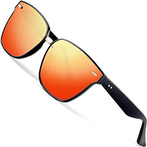 ATTCL Unisex Wayfarer Sunglasses 100% Polarized UV Protection 555-red
