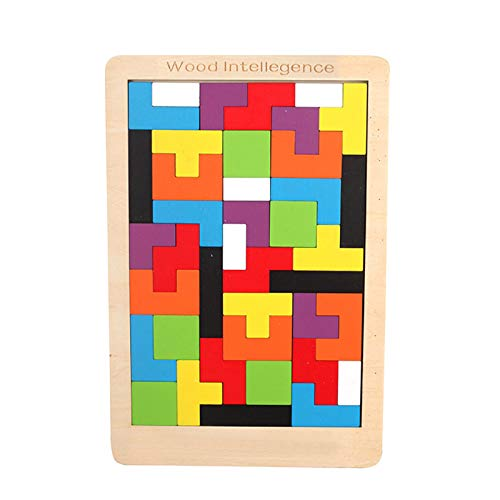 Tetris de Madera, 40 PCS Tangram Jigsaw Brain Toy Toy for Kids Wood Puzzle Box Brain Game Block Block Intelligence Educativo Regalo para niños pequeños