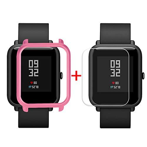 Sannysis Displayschutz Ultradünne PC Hülle Panzerglas Schutzfolie Set Kompatibel für Xiaomi Huami Amazfit Bip Youth Watch Displayschutzfolien, Schutzhülle + Panzerglas (Pink)