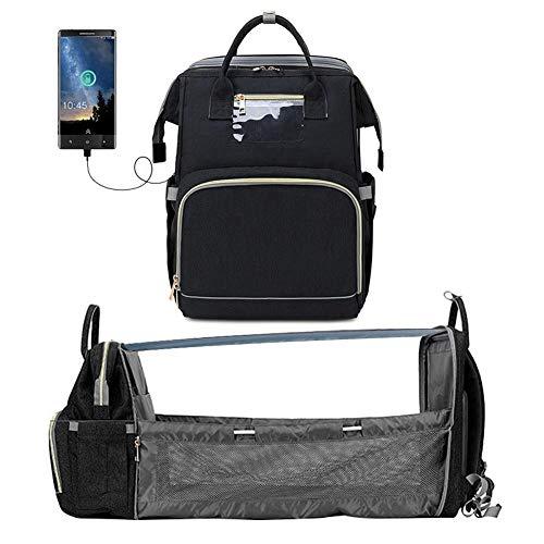 yzl Multifunktions-Wickeltasche für Windeln, Reisewindeltasche zum Zusammenklappen mit USB-Aufladung, Rucksack mit Kindersitz für Papa Mama Nylongewebe wasserdicht , 32 cm x 21 cm x 43 cm