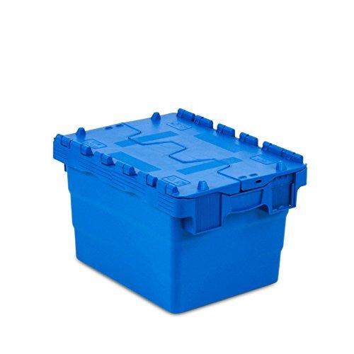 aidB Euro-Mehrwegbehälter, 400x300x250 mm, robuste Aufbewahrungsbox aus Kunststoff, stapelbare Kunststoffbox mit Deckel, Lebensmittelechte Transportbox