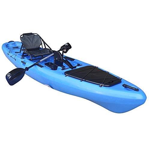 BKC PK13 13' Pedal Drive Fishing Kayak W/Rudder System and Instant Reverse, Paddle, Upright Back Support Aluminum Frame Seat, 1 Person Foot Operated Kayak (Blue)