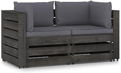 vidaXL Bois Imprégné de Gris Canapé de Jardin 2 Places avec Coussins Sofa de Terrasse Canapé d'Extérieur Sofa de Jardin Meuble de Patio